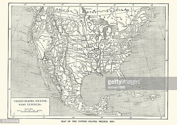 map of the united states and mexico, 19th century - mexico black and white stock illustrations