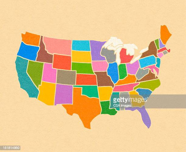 map of the united states - usa stock illustrations