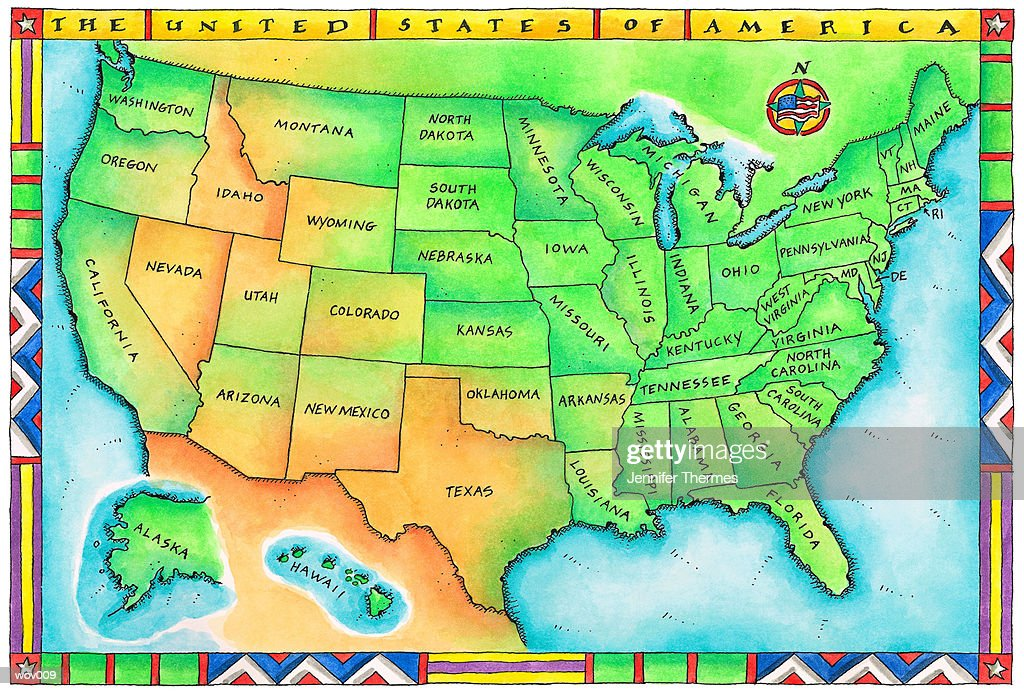Map of the USA : Stock Illustration
