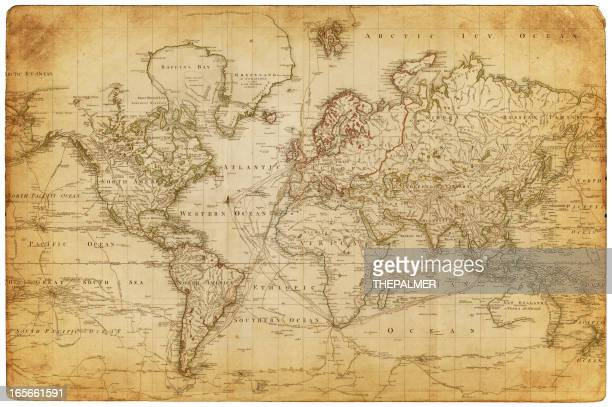 map of the world 1800 - antique stock illustrations