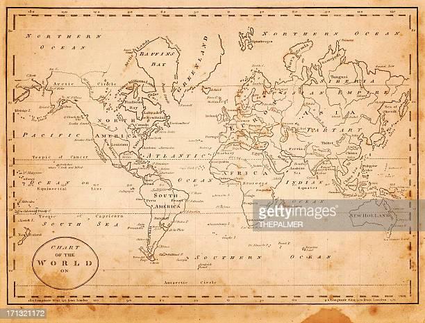 ilustraciones, imágenes clip art, dibujos animados e iconos de stock de mapa del mundo 1816 - las américas