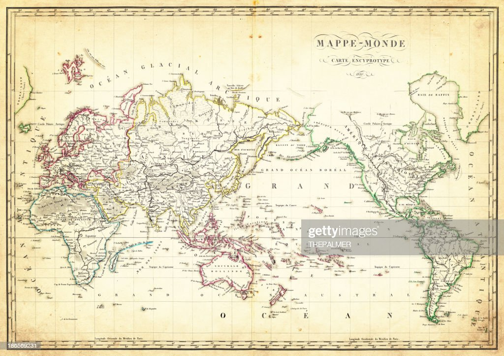 map of the world 1816 : stock illustration
