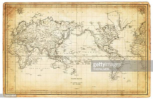 map of the world 1820s - pacific ocean stock illustrations, clip art, cartoons, & icons