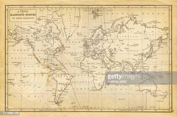 illustrations, cliparts, dessins animés et icônes de carte du monde 1844 - cartographie