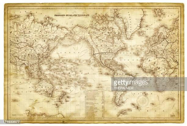 世界地図 1864 - 電報点のイラスト素材/クリップアート素材/マンガ素材/アイコン素材
