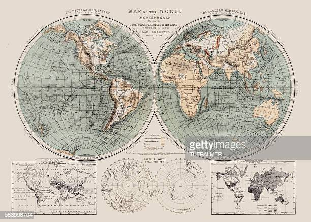 map of the world 1869 - antique stock illustrations