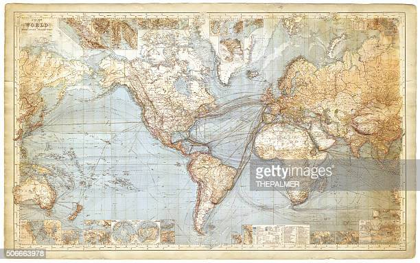 map of the world 1877 - antique stock illustrations