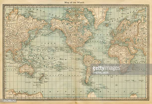 map of the world 1882 - pacific ocean stock illustrations, clip art, cartoons, & icons