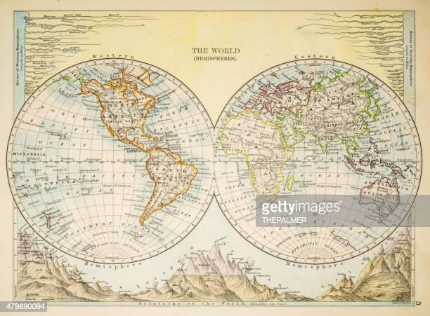 illustrations, cliparts, dessins animés et icônes de carte du monde 1897 - hémisphère