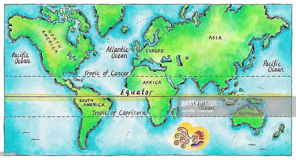 Map of the World & Equator : Stock Illustration