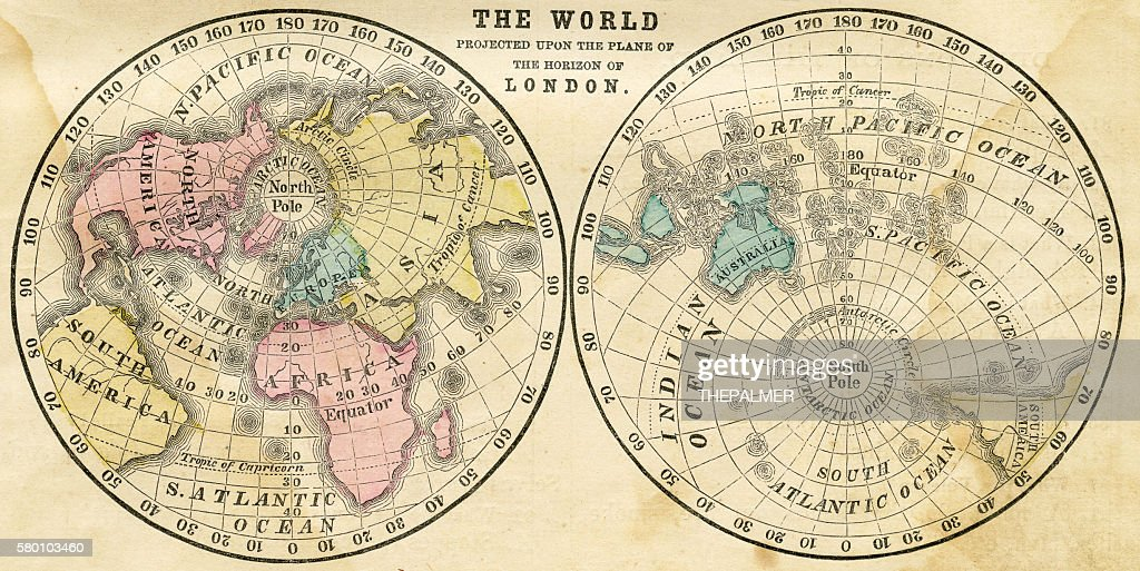 Map of the world horizontal projection 1856 : stock illustration
