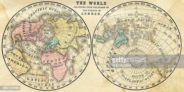 Map of the world horizontal projection 1856