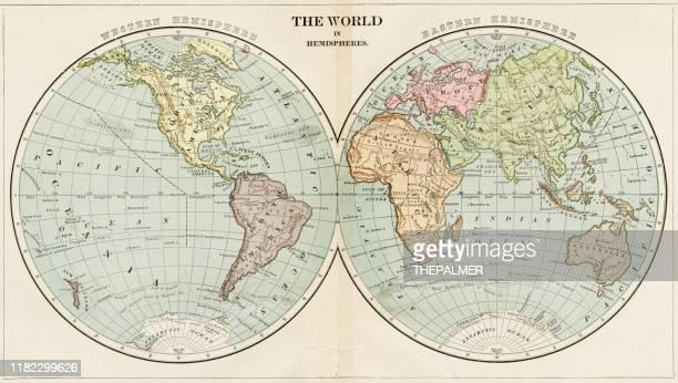 半球の世界地図 1899年 - 西点のイラスト素材/クリップアート素材/マンガ素材/アイコン素材
