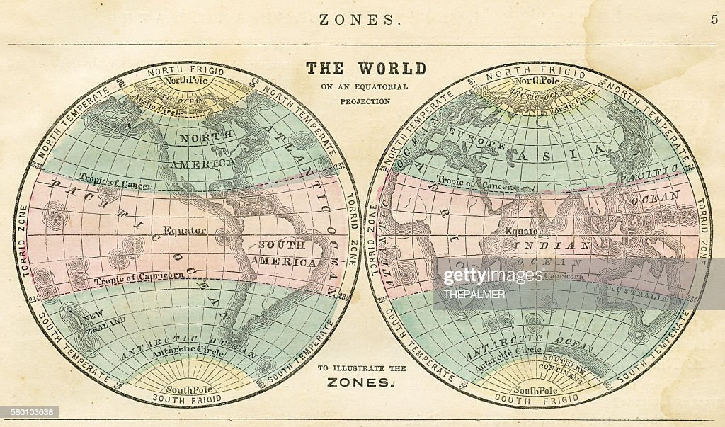 Map of the world in zones 1856 : stock illustration
