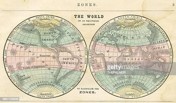 Map of the world in zones 1856