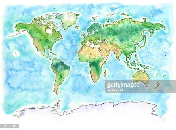 Map of the World with Watercolor Texture - Raster Illustration