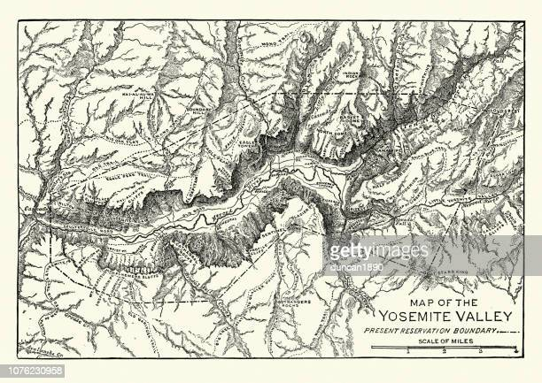 map of the yosemite valley, 19th century - national park stock illustrations