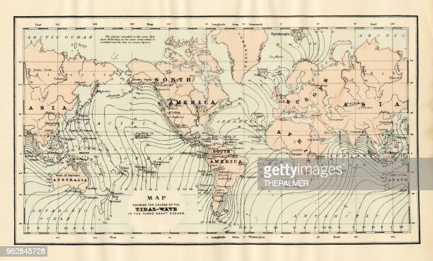 map of tidal wave 1894 - tide stock illustrations, clip art, cartoons, & icons