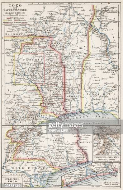 map of togo 1900 - togo stock illustrations, clip art, cartoons, & icons