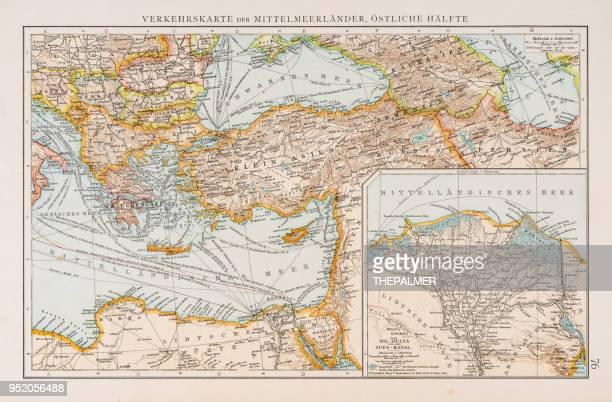 Map of traffic in the Mediterranean sea 1896