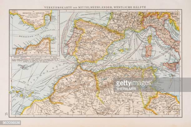 ilustraciones, imágenes clip art, dibujos animados e iconos de stock de mapa de tráfico en el mar mediterráneo 1896 - geografía física