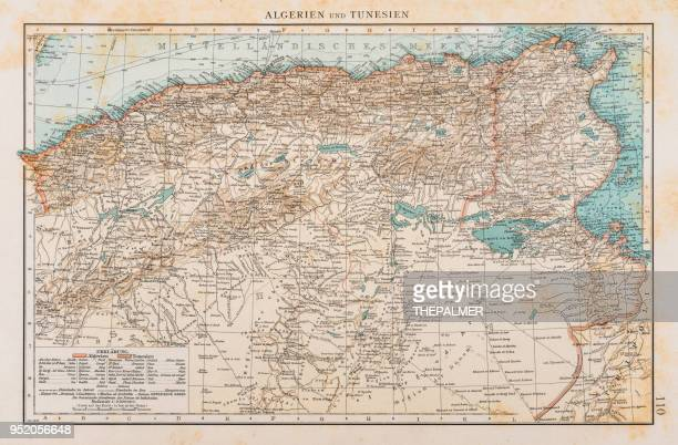 Map of Tunisia and Algeria 1896