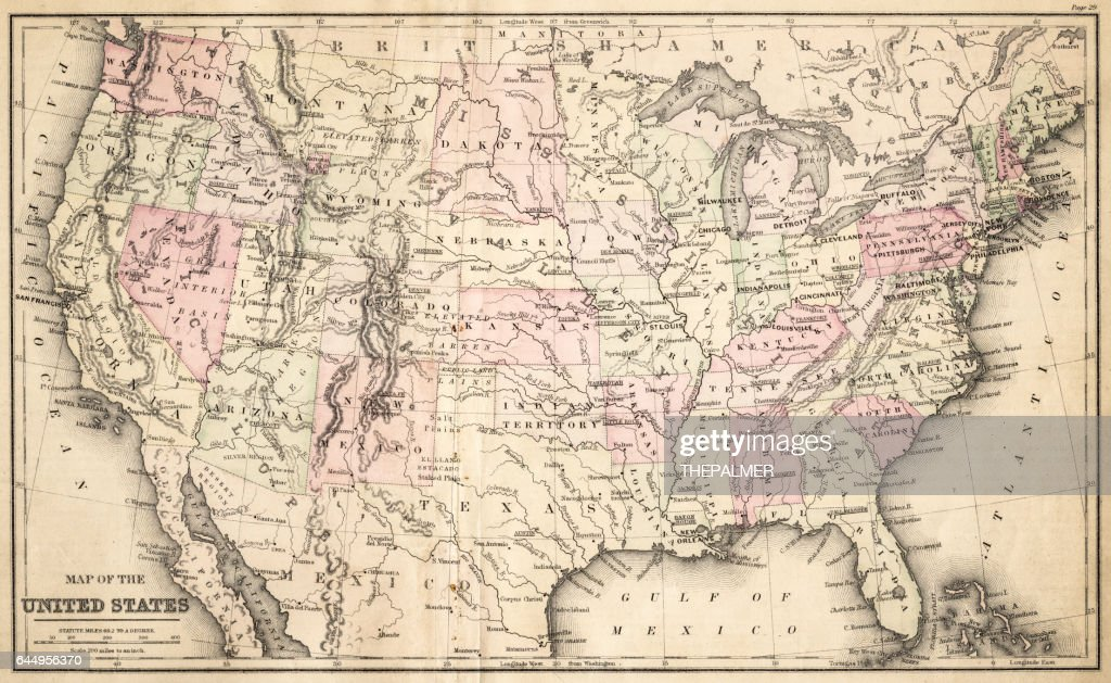 Map Of United States 1883 High-Res Vector Graphic - Getty Images Map F The United States on map of 50 states with names, map of south america, google america united states,