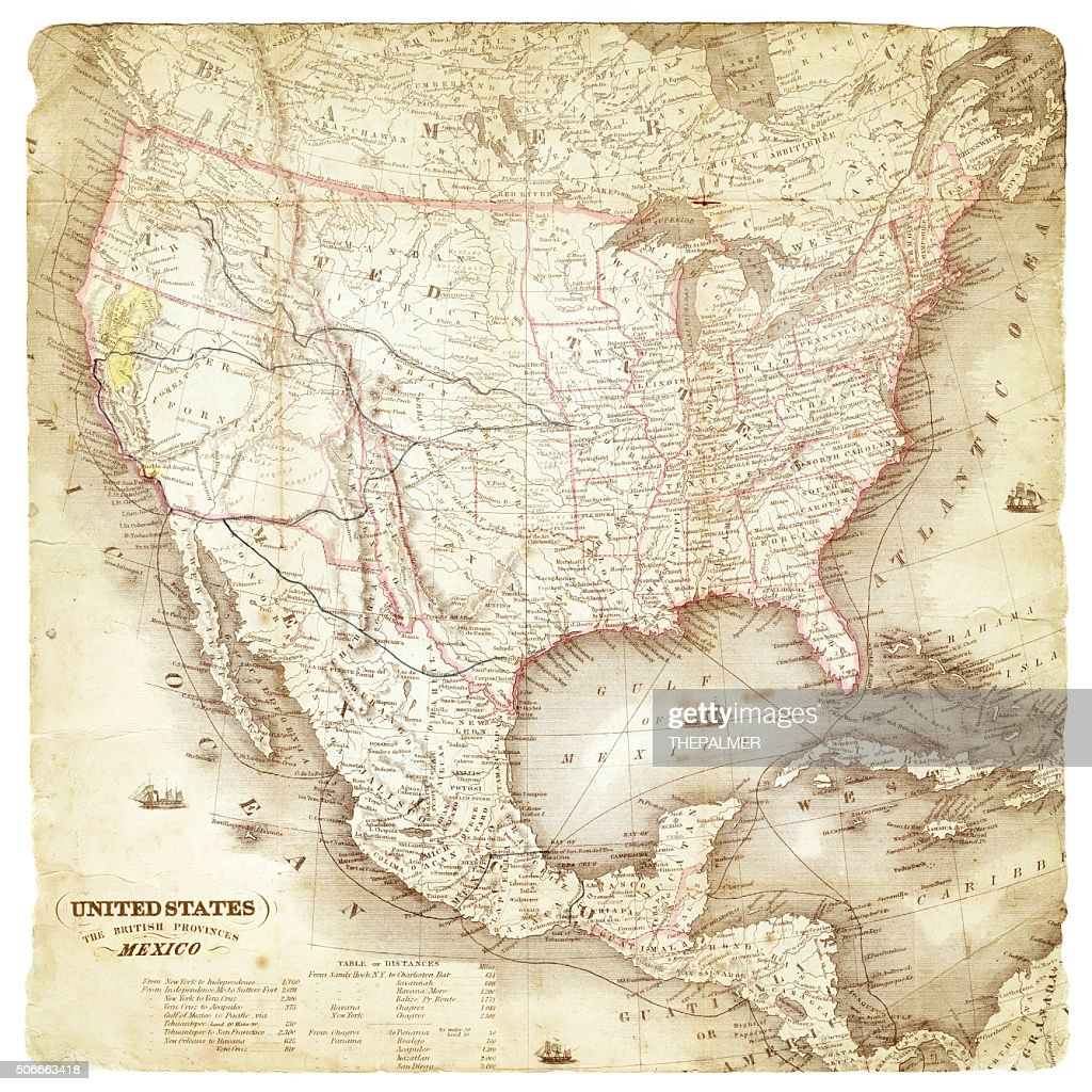 map of united states and mexico 1849 stock illustration