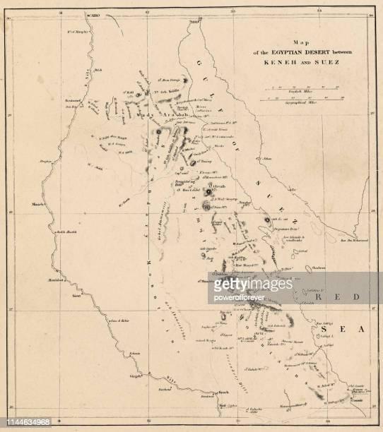 ilustraciones, imágenes clip art, dibujos animados e iconos de stock de mapa del alto egipto, el golfo de suez y la península del sinaí-19th siglo - países del golfo