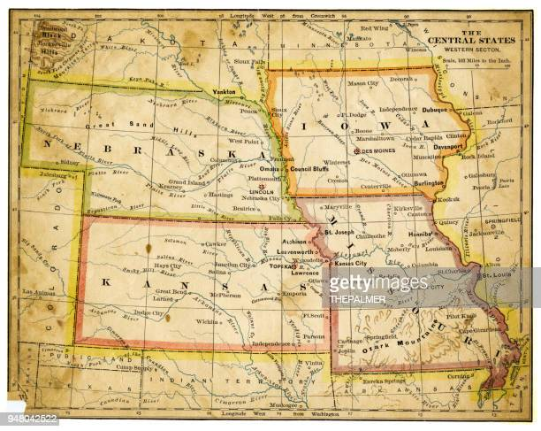 Map of USA Central states 1883