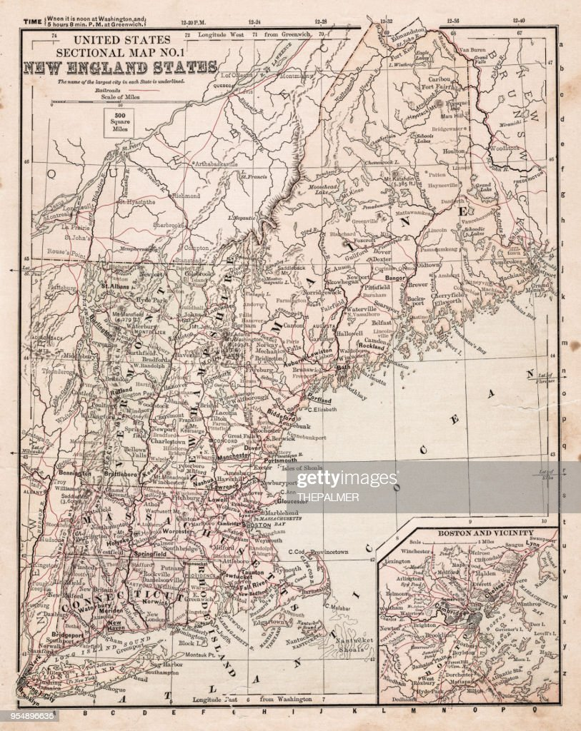 Map Of Usa New England States 1881 Stock Illustration | Getty Images