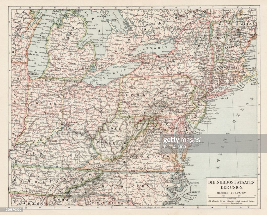 Map Of Usa North East States 1900 Stock Illustration | Getty Images