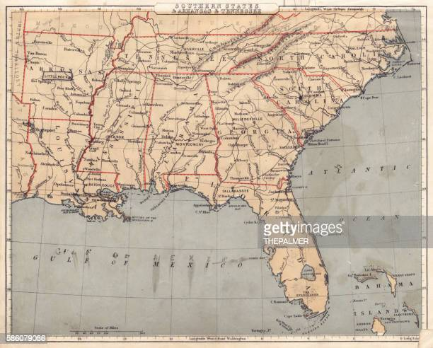 Map of USA Southern states 1869
