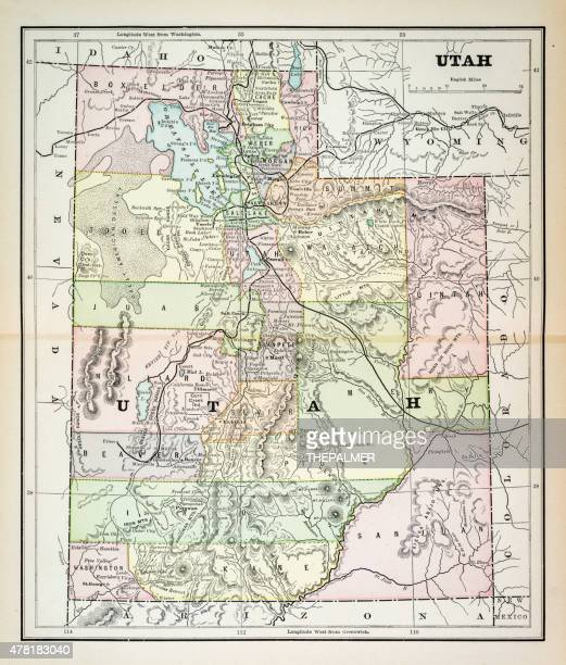 map of utah 1883 - utah stock illustrations, clip art, cartoons, & icons