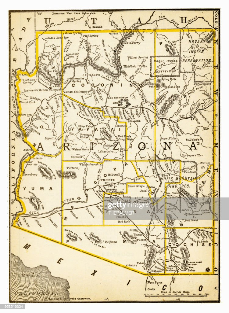 Map Of Arizona Utah.Map Of Utah And Arizona 1893 Stock Illustration Getty Images