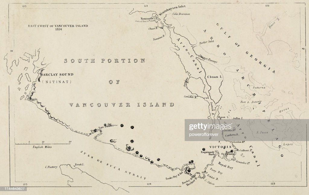 Map of Vancouver Island in Canada- 19th Century : Stock Illustration