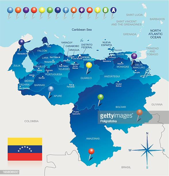 map of venezuela - colombia stock illustrations