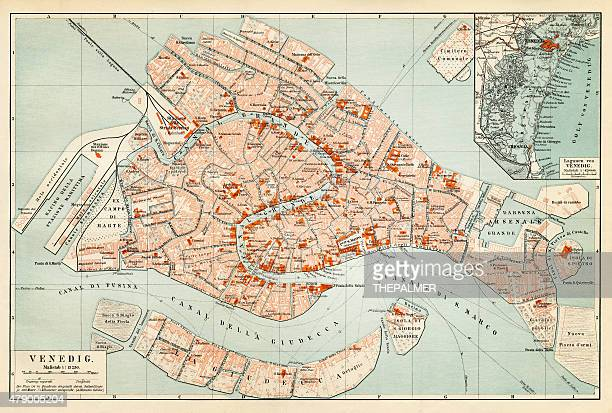 map of venice 1897 - venice italy stock illustrations, clip art, cartoons, & icons