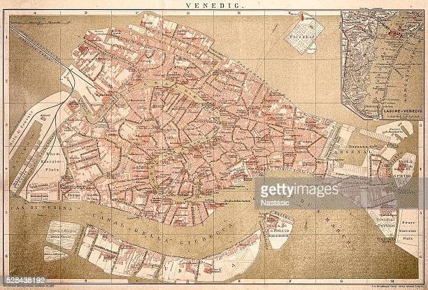 map of venice 1898 - venice italy stock illustrations, clip art, cartoons, & icons