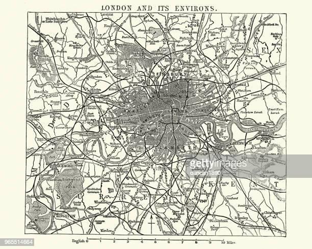 karte des viktorianischen london und seine umgebung, england, der 1870er jahre - london und umgebung stock-grafiken, -clipart, -cartoons und -symbole