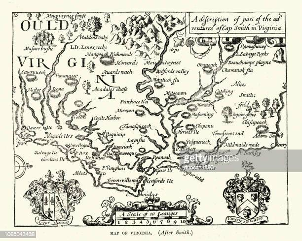 map of virginia, 17th century after captain john smith - 17th century stock illustrations, clip art, cartoons, & icons