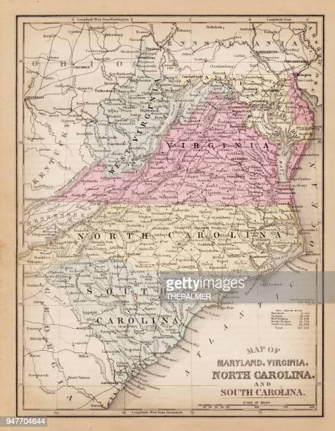map of virginia and maryland 1881 - virginia stock illustrations, clip art, cartoons, & icons