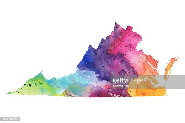 Map of Virginia with Watercolor Texture - Raster Illustration