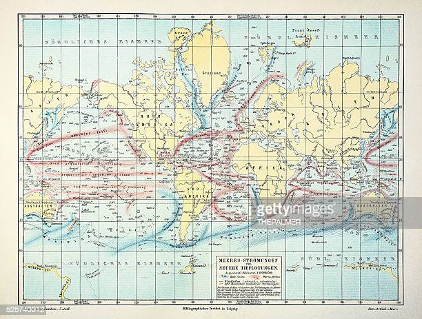 map of weather and ocean currents 1895 - tide stock illustrations, clip art, cartoons, & icons