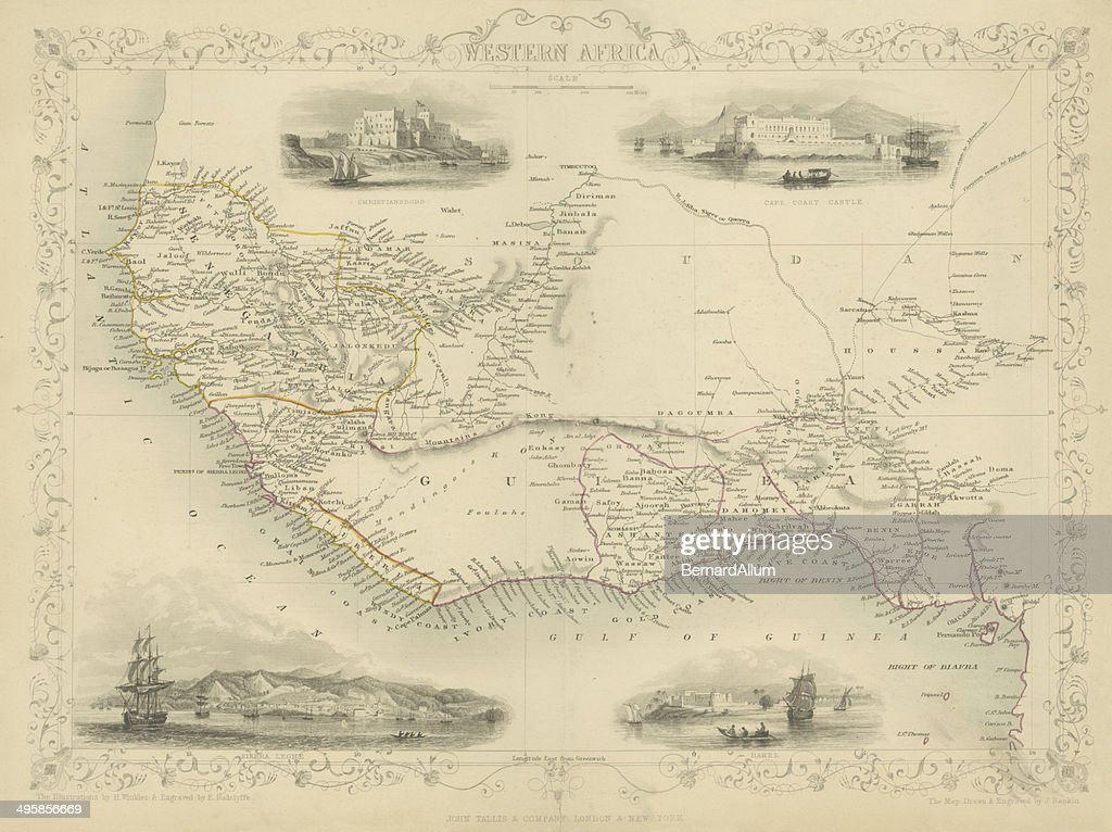 Map of Western Africa 1851 : Stock Illustration