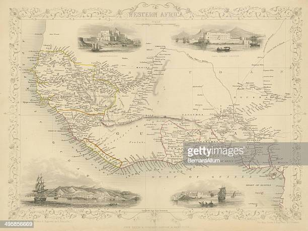 map of western africa 1851 - ghana stock illustrations, clip art, cartoons, & icons