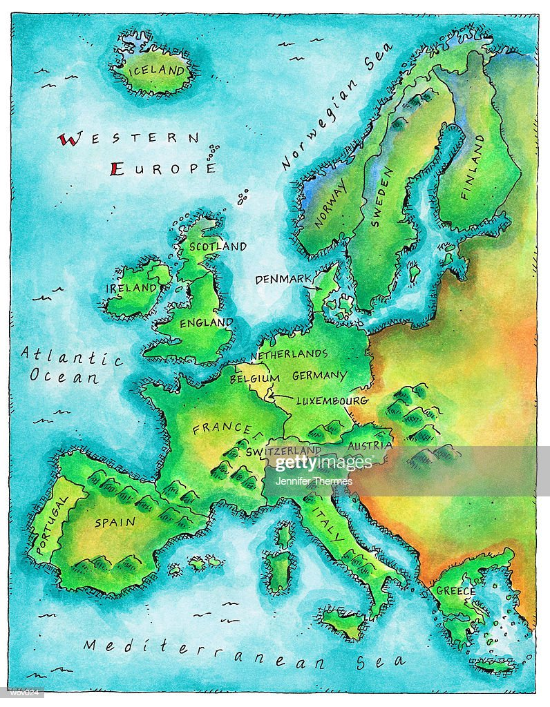 Map of Western Europe : Stockillustraties