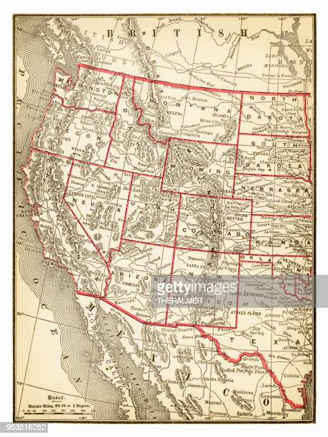 Map of Western USA 1893