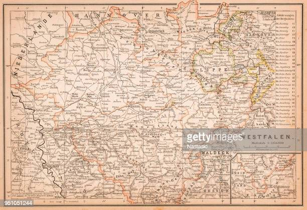 map of westphalia ,a former province of northwestern germany. - country geographic area stock illustrations, clip art, cartoons, & icons