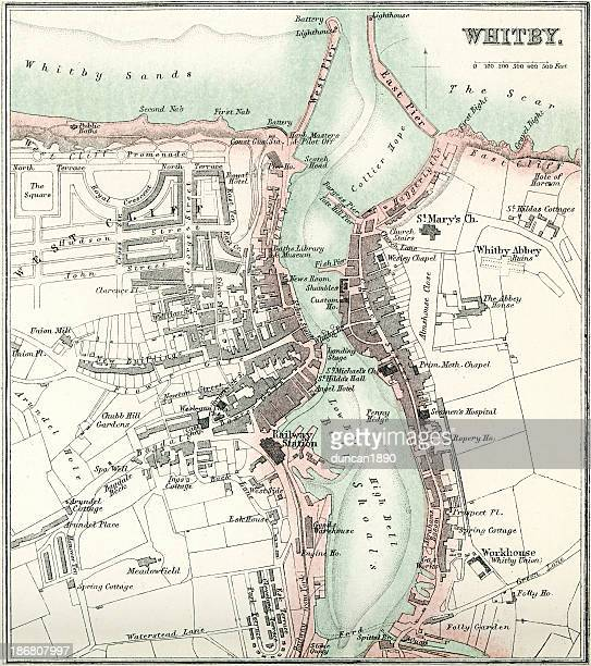 map of whitby - yorkshire england stock illustrations